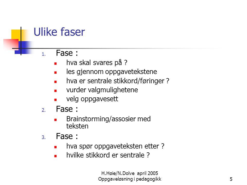 H.Høie/N.Dolve april 2005 Oppgaveløsning i pedagogikk5 Ulike faser 1. Fase :  hva skal svares på ?  les gjennom oppgavetekstene  hva er sentrale st