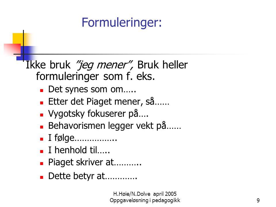 """H.Høie/N.Dolve april 2005 Oppgaveløsning i pedagogikk9 Formuleringer: Ikke bruk """"jeg mener"""", Bruk heller formuleringer som f. eks.  Det synes som om…"""