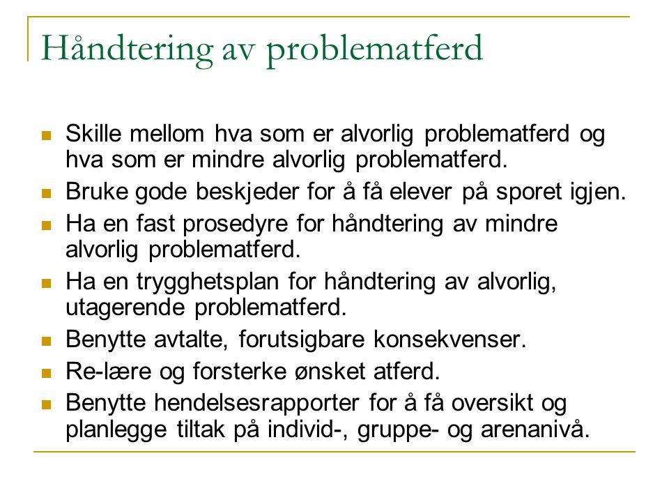 Prinsipper for bruk av konsekvenser  Milde  Forutsigbare  Avtalte på forhånd med elever og foreldre  Logiske eller naturlige  Nært knyttet i tid til problematferden