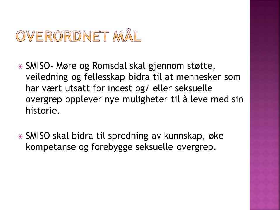  SMISO- Møre og Romsdal skal gjennom støtte, veiledning og fellesskap bidra til at mennesker som har vært utsatt for incest og/ eller seksuelle overg