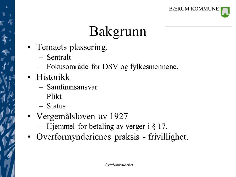Overformynderiet Bakgrunn •Temaets plassering. –Sentralt –Fokusområde for DSV og fylkesmennene. •Historikk –Samfunnsansvar –Plikt –Status •Vergemålslo