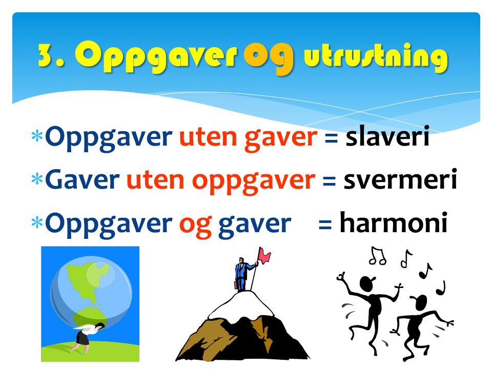  Oppgaver uten gaver = slaveri  Gaver uten oppgaver = svermeri  Oppgaver og gaver = harmoni 3. Oppgaver og utrustning