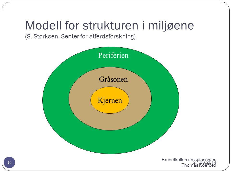 Brusetkollen ressurssenter, Thomas Koefoed Modell for strukturen i miljøene (S.