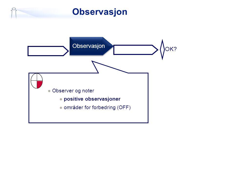 Observasjon OK? Observasjon  Observer og noter  positive observasjoner  områder for forbedring (OFF)