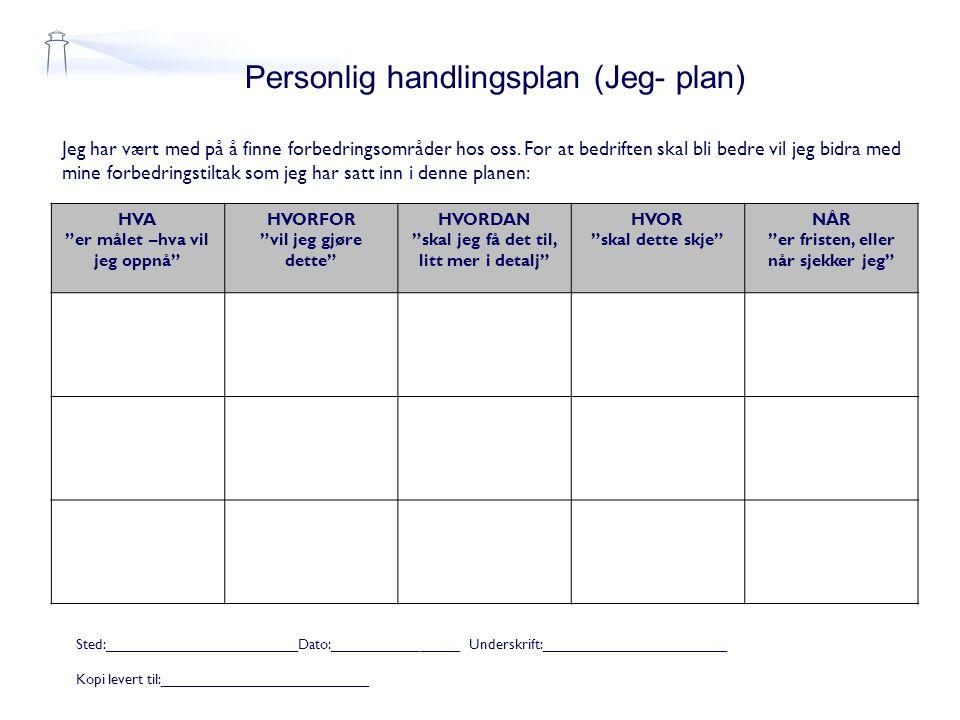 Personlig handlingsplan (Jeg- plan) Jeg har vært med på å finne forbedringsområder hos oss. For at bedriften skal bli bedre vil jeg bidra med mine for