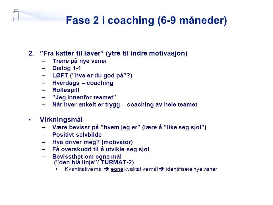 """Fase 2 i coaching (6-9 måneder) 2.""""Fra katter til løver"""" (ytre til indre motivasjon) –Trene på nye vaner –Dialog 1-1 –LØFT (""""hva er du god på""""?) –Hver"""