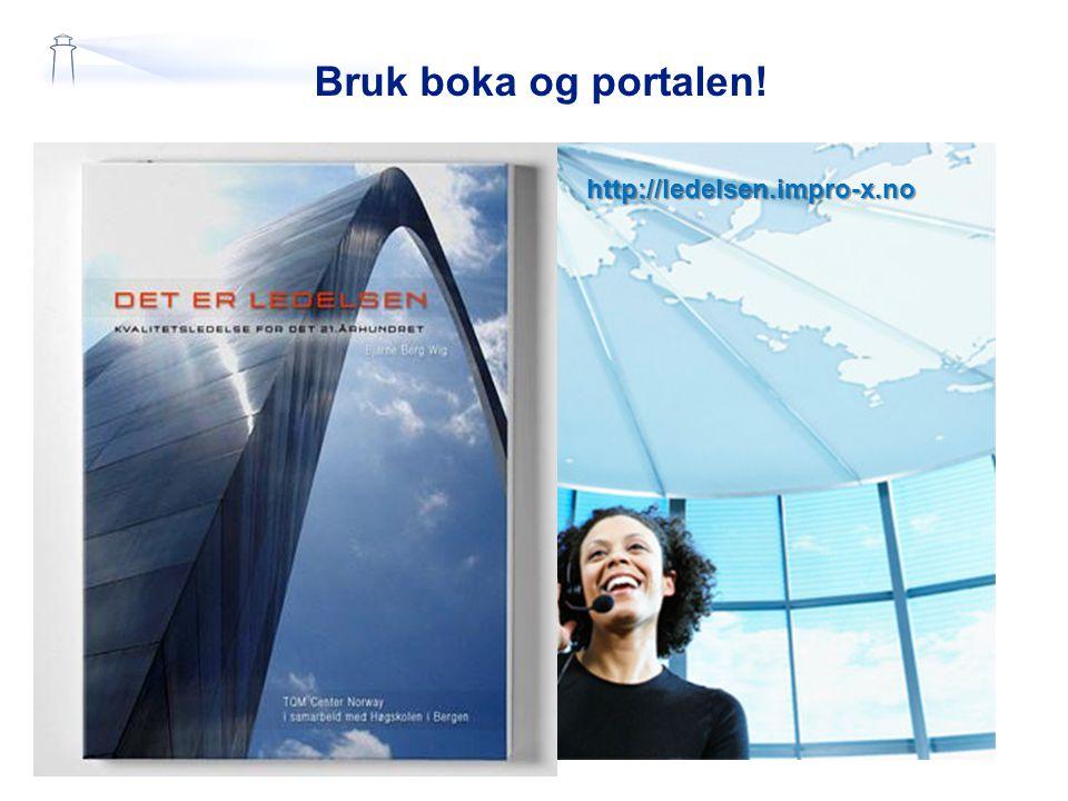 Bruk boka og portalen! http://ledelsen.impro-x.no