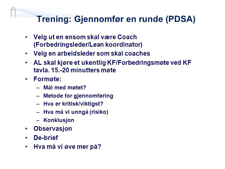 Trening: Gjennomfør en runde (PDSA) •Velg ut en ensom skal være Coach (Forbedringsleder/Lean koordinator) •Velg en arbeidsleder som skal coaches •AL s