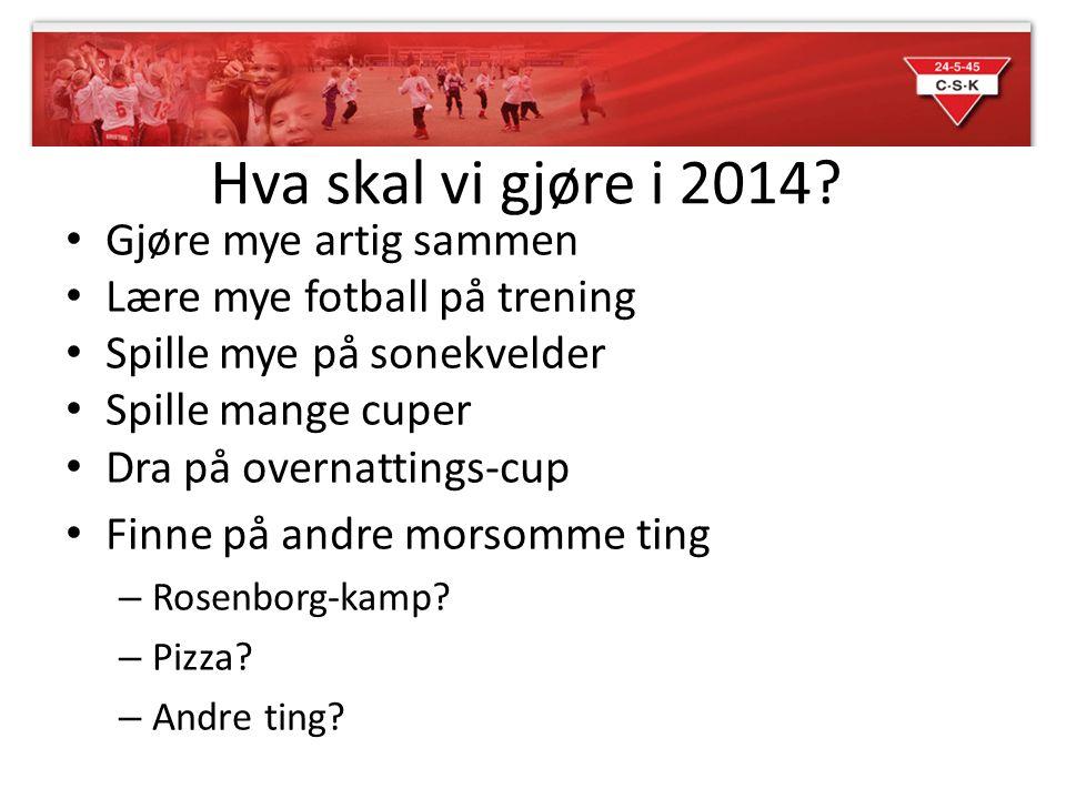 Hva skal vi gjøre i 2014? • Gjøre mye artig sammen • Lære mye fotball på trening • Spille mye på sonekvelder • Spille mange cuper • Dra på overnatting