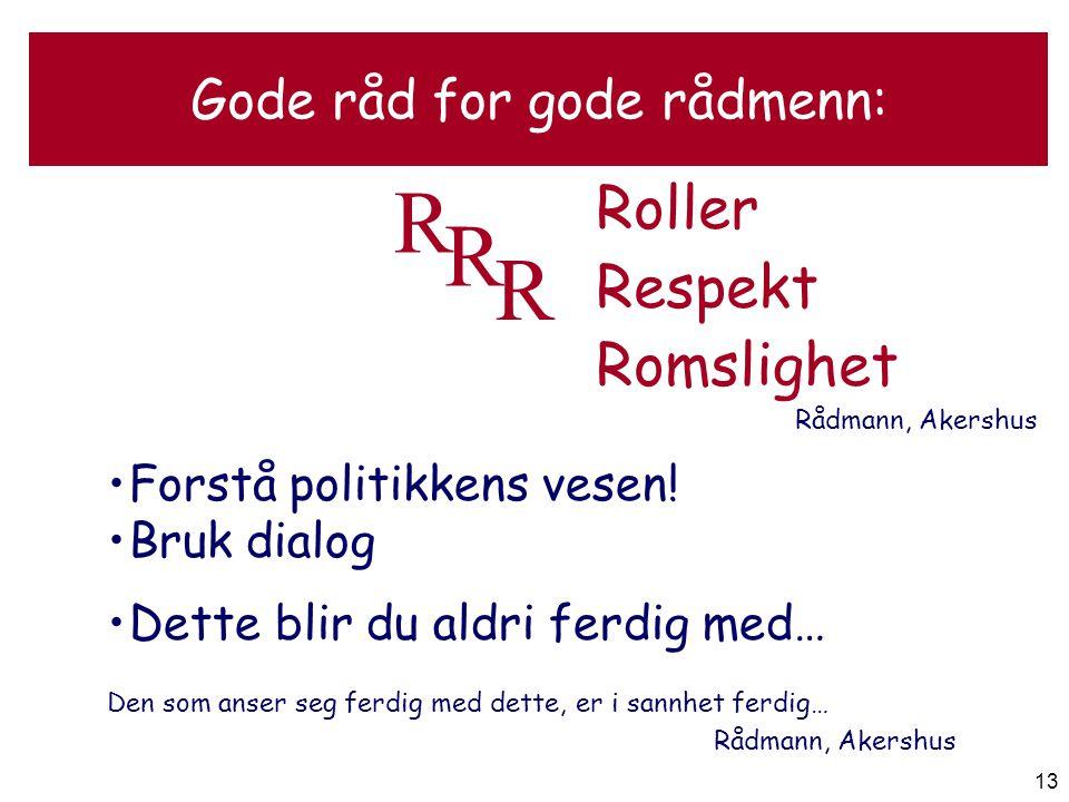 13 Gode råd for gode rådmenn: Roller Respekt Romslighet Rådmann, Akershus R R R •F•Forstå politikkens vesen! •B•Bruk dialog •D•Dette blir du aldri fer