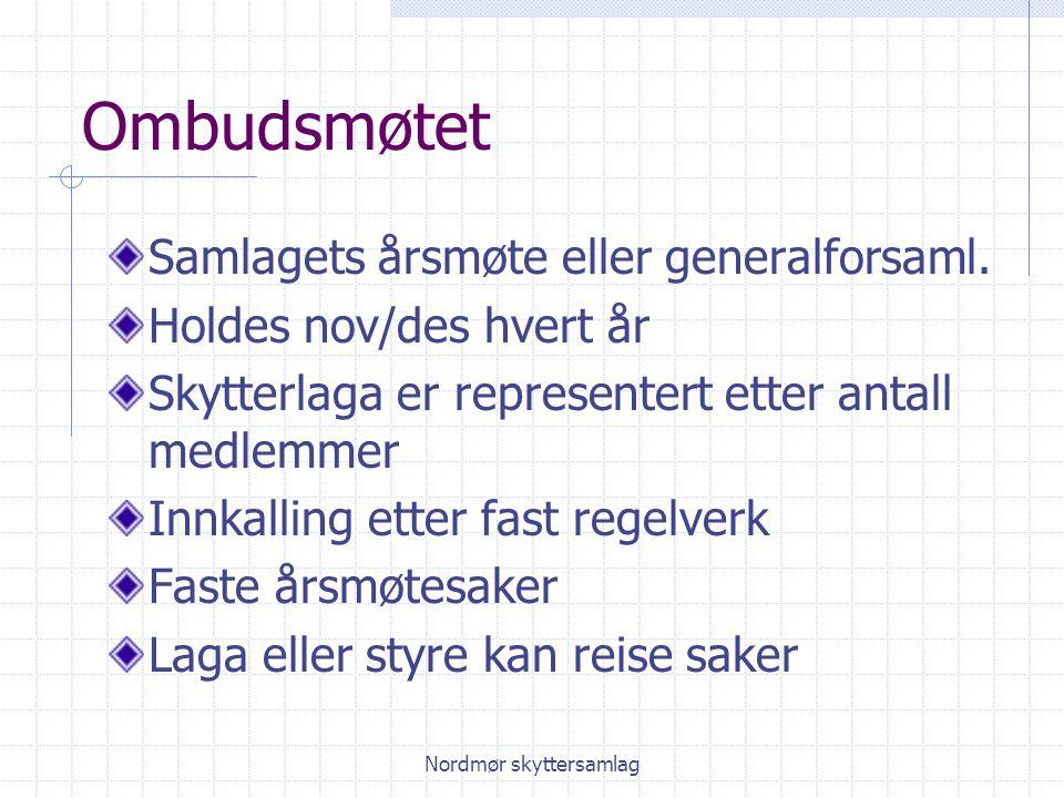 Nordmør skyttersamlag Ombudsmøtet Samlagets årsmøte eller generalforsaml.