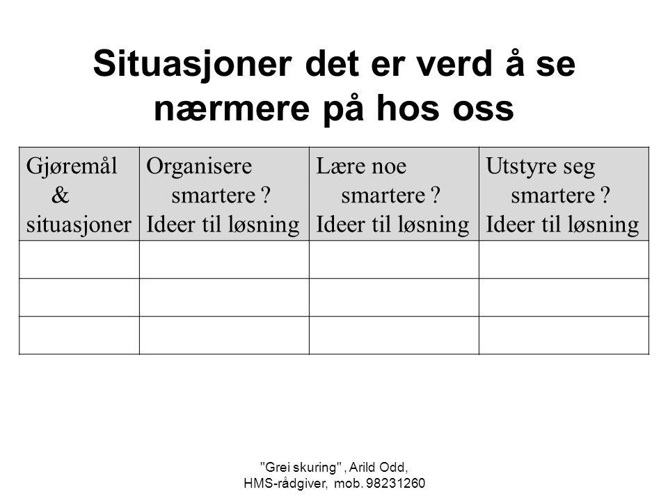 Grei skuring , Arild Odd, HMS-rådgiver, mob.98231260 Gjøremål & situasjoner Organisere smartere .