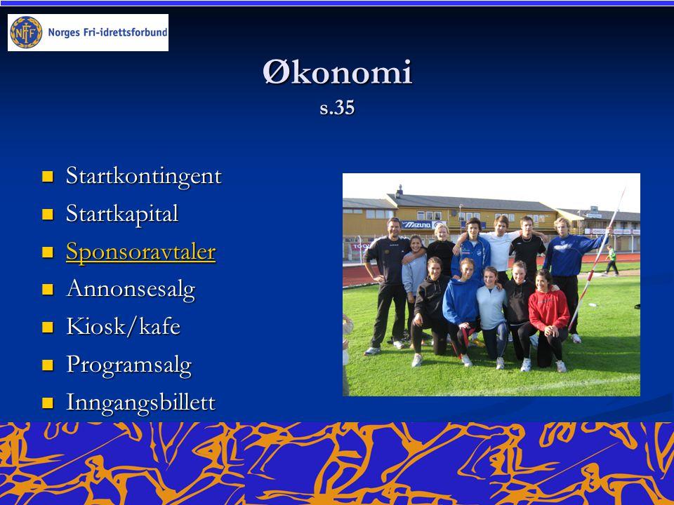 Økonomi s.35  Startkontingent  Startkapital  Sponsoravtaler Sponsoravtaler  Annonsesalg  Kiosk/kafe  Programsalg  Inngangsbillett