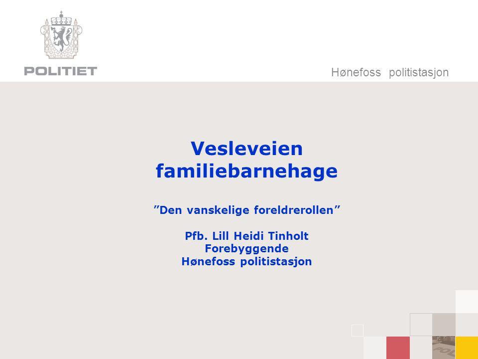 """Hønefoss politistasjon Vesleveien familiebarnehage """"Den vanskelige foreldrerollen"""" Pfb. Lill Heidi Tinholt Forebyggende Hønefoss politistasjon"""