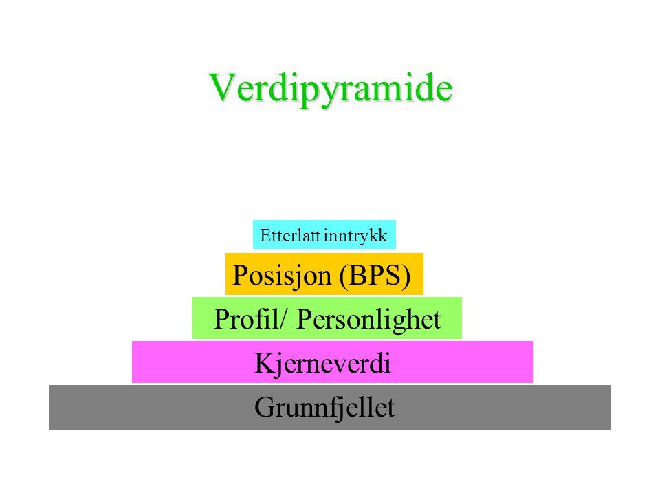 Verdipyramide Grunnfjellet Kjerneverdi Profil/ Personlighet Posisjon (BPS) Etterlatt inntrykk