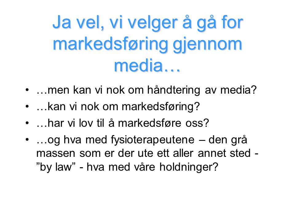 Ja vel, vi velger å gå for markedsføring gjennom media… •…men kan vi nok om håndtering av media? •…kan vi nok om markedsføring? •…har vi lov til å mar
