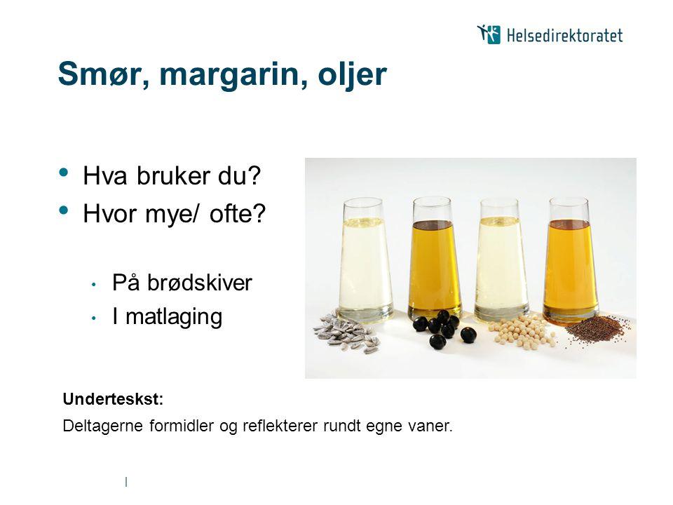 | Smør, margarin, oljer • Hva bruker du? • Hvor mye/ ofte? • På brødskiver • I matlaging Underteskst: Deltagerne formidler og reflekterer rundt egne v