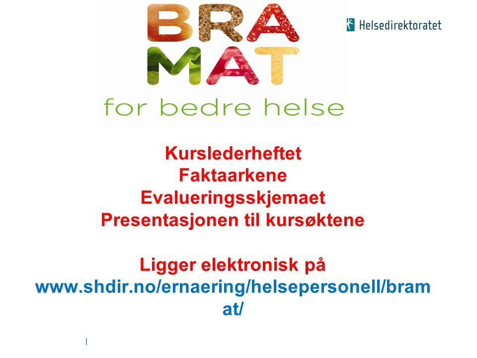 | Kurslederheftet Faktaarkene Evalueringsskjemaet Presentasjonen til kursøktene Ligger elektronisk på www.shdir.no/ernaering/helsepersonell/bram at/