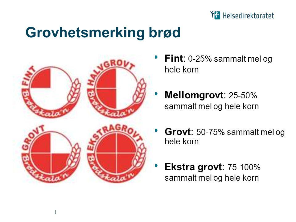 | Grovhetsmerking brød • Fint: 0-25% sammalt mel og hele korn • Mellomgrovt: 25-50% sammalt mel og hele korn • Grovt: 50-75% sammalt mel og hele korn