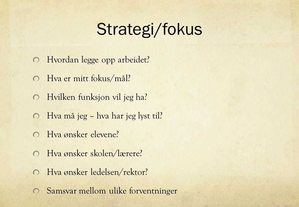 Strategi/fokus Hvordan legge opp arbeidet? Hva er mitt fokus/mål? Hvilken funksjon vil jeg ha? Hva må jeg – hva har jeg lyst til? Hva ønsker elevene?