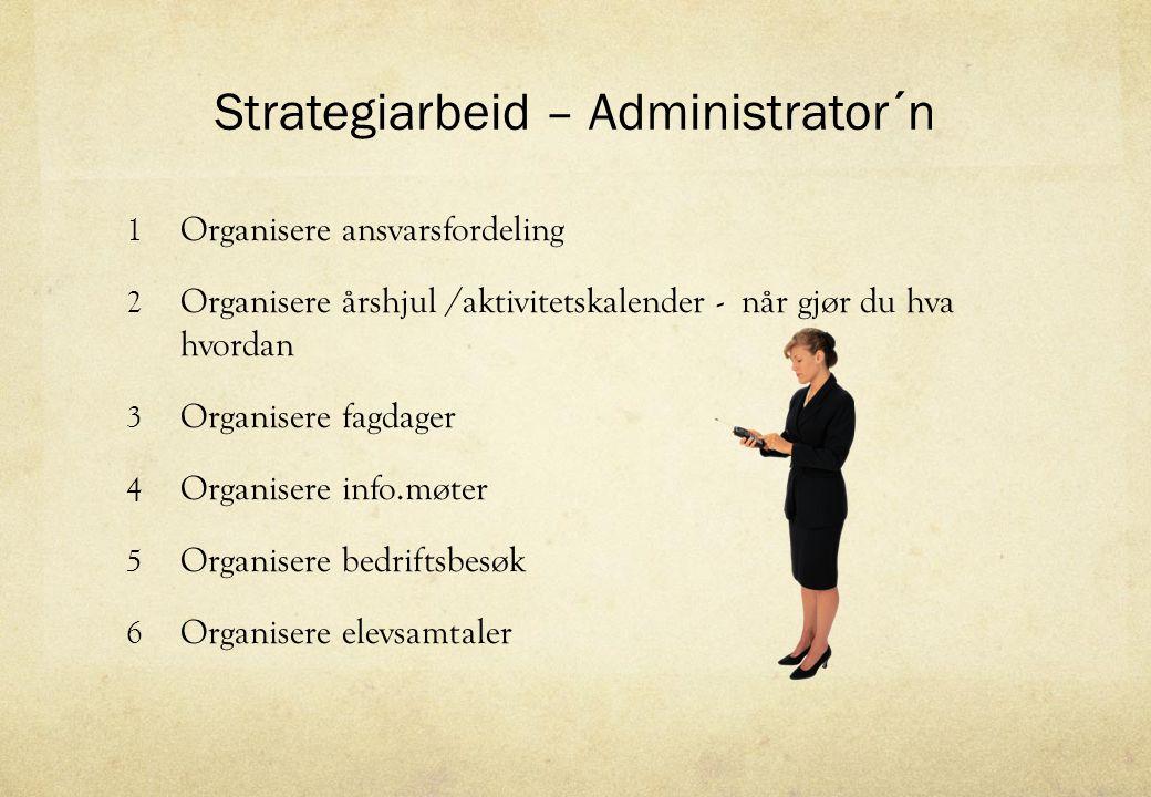 Strategiarbeid – Administrator´n 1 Organisere ansvarsfordeling 2 Organisere årshjul /aktivitetskalender - når gjør du hva hvordan 3 Organisere fagdage