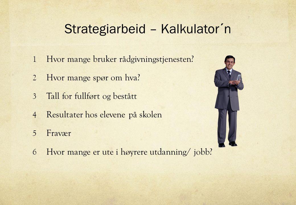 Strategiarbeid – Kalkulator´n 1 Hvor mange bruker rådgivningstjenesten? 2 Hvor mange spør om hva? 3 Tall for fullført og bestått 4 Resultater hos elev