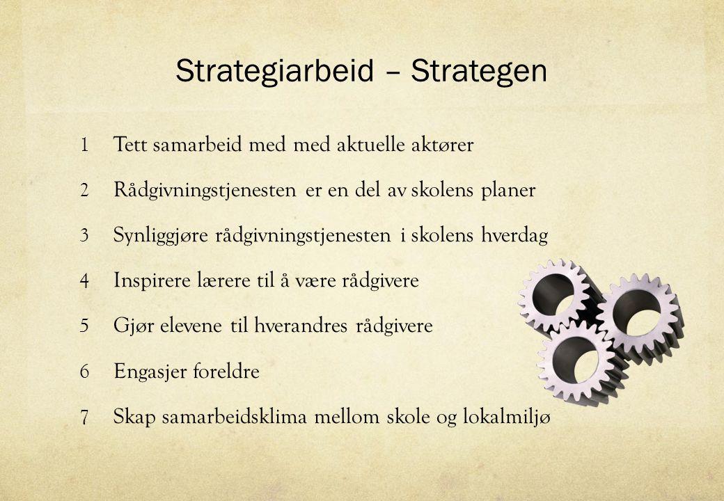 Strategiarbeid – Strategen 1 Tett samarbeid med med aktuelle aktører 2 Rådgivningstjenesten er en del av skolens planer 3 Synliggjøre rådgivningstjene