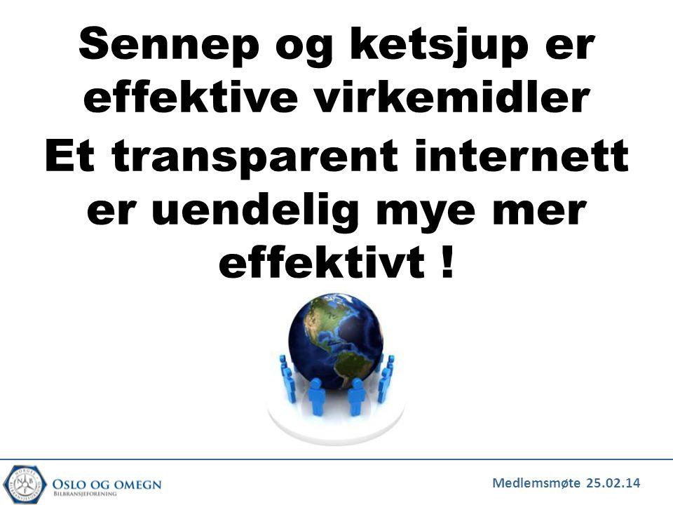 Medlemsmøte 25.02.14 Sennep og ketsjup er effektive virkemidler Et transparent internett er uendelig mye mer effektivt !