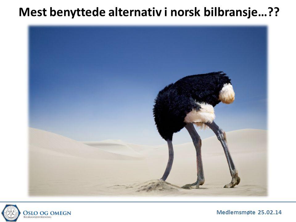 Mest benyttede alternativ i norsk bilbransje…??