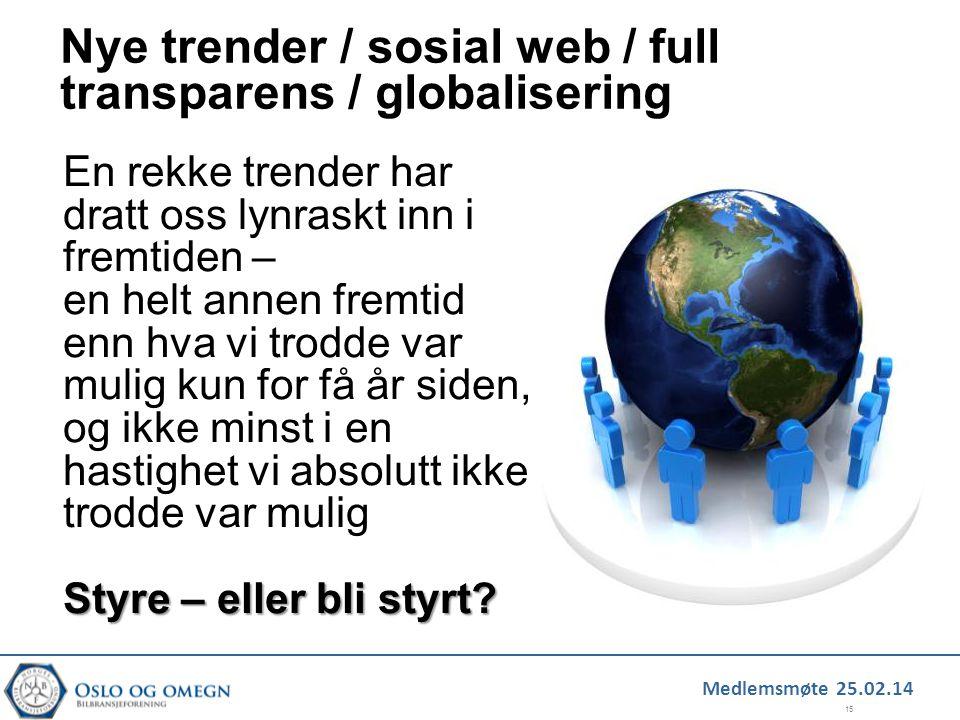 Medlemsmøte 25.02.14 15 Nye trender / sosial web / full transparens / globalisering En rekke trender har dratt oss lynraskt inn i fremtiden – en helt