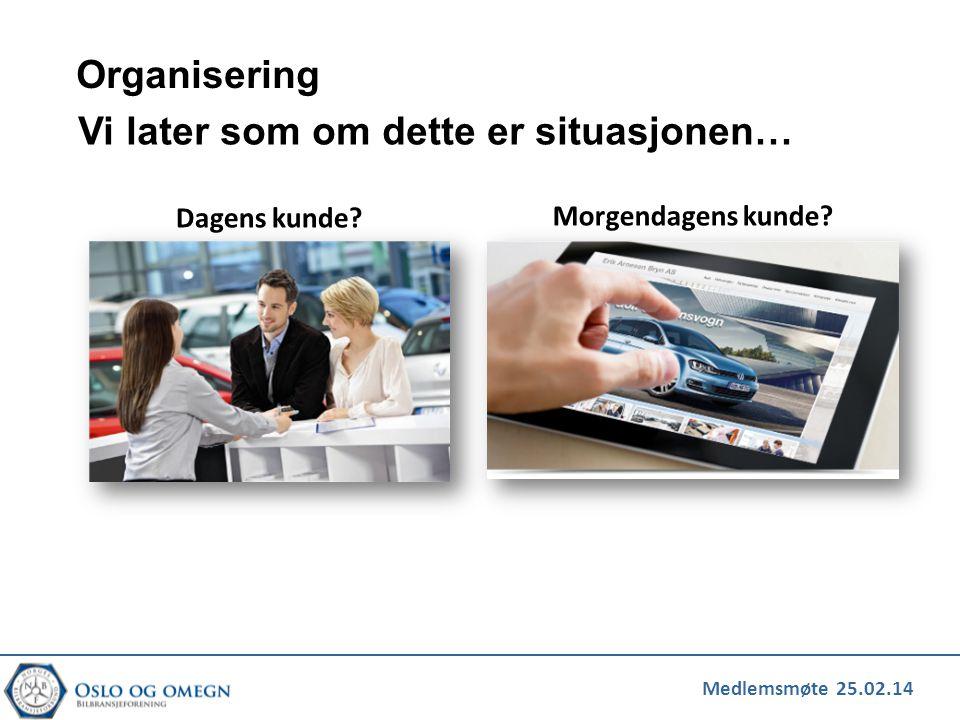 Medlemsmøte 25.02.14 Organisering Dagens kunde? Morgendagens kunde? Vi later som om dette er situasjonen…