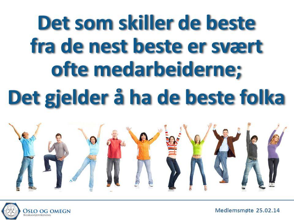Medlemsmøte 25.02.14 Det som skiller de beste fra de nest beste er svært ofte medarbeiderne; Det gjelder å ha de beste folkaDet gjelder å ha de beste