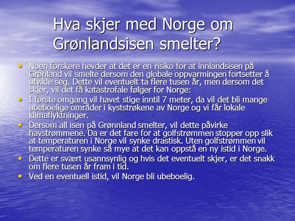 Hva skjer med Norge om Grønlandsisen smelter? • Noen forskere hevder at det er en risiko for at innlandsisen på Grønland vil smelte dersom den globale