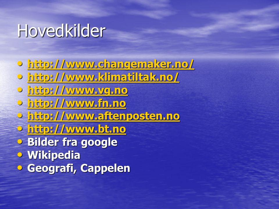 Hovedkilder • http://www.changemaker.no/ http://www.changemaker.no/ • http://www.klimatiltak.no/ http://www.klimatiltak.no/ • http://www.vg.no http://