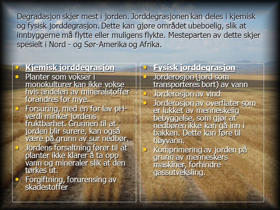 Degradasjon skjer mest i jorden. Jorddegrasjonen kan deles i kjemisk og fysisk jorddegrasjon. Dette kan gjøre området ubeboelig, slik at innbyggerne m