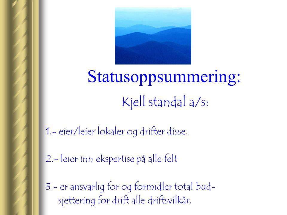 Statusoppsummering: Kjell standal a/s: 1.- eier/leier lokaler og drifter disse. 2.- leier inn ekspertise på alle felt 3.- er ansvarlig for og formidle