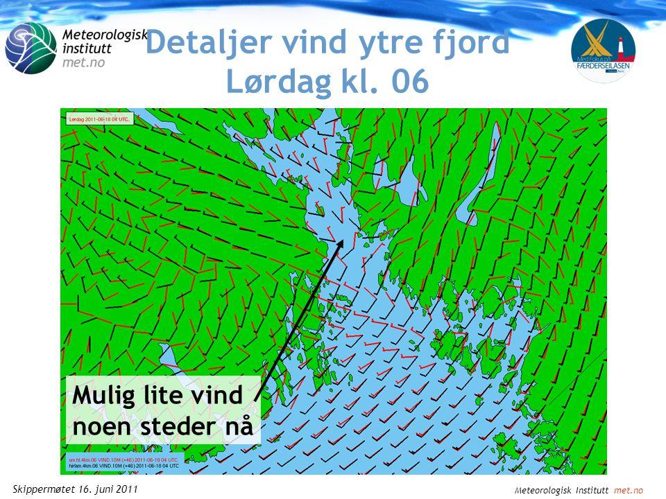 Meteorologisk Institutt met.no Skippermøtet 16. juni 2011 Detaljer vind ytre fjord Lørdag kl. 03