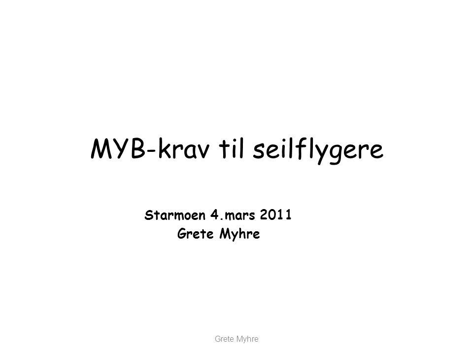 MYB-krav til seilflygere Starmoen 4.mars 2011 Grete Myhre