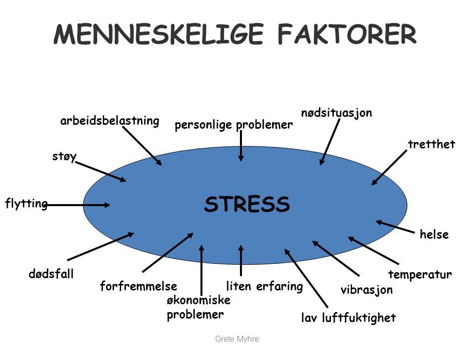 MENNESKELIGE FAKTORER STRESS forfremmelse økonomiske problemer liten erfaring lav luftfuktighet vibrasjon temperatur helse tretthet nødsituasjon perso