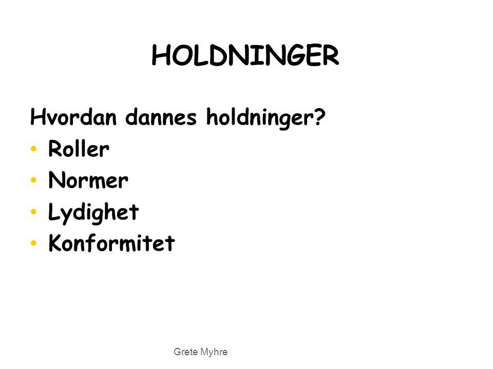 HOLDNINGER Hvordan dannes holdninger? • Roller • Normer • Lydighet • Konformitet Grete Myhre