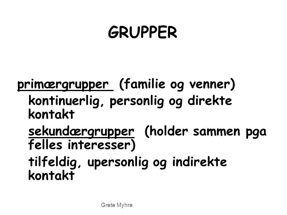 GRUPPER primærgrupper (familie og venner) kontinuerlig, personlig og direkte kontakt sekundærgrupper (holder sammen pga felles interesser) tilfeldig,