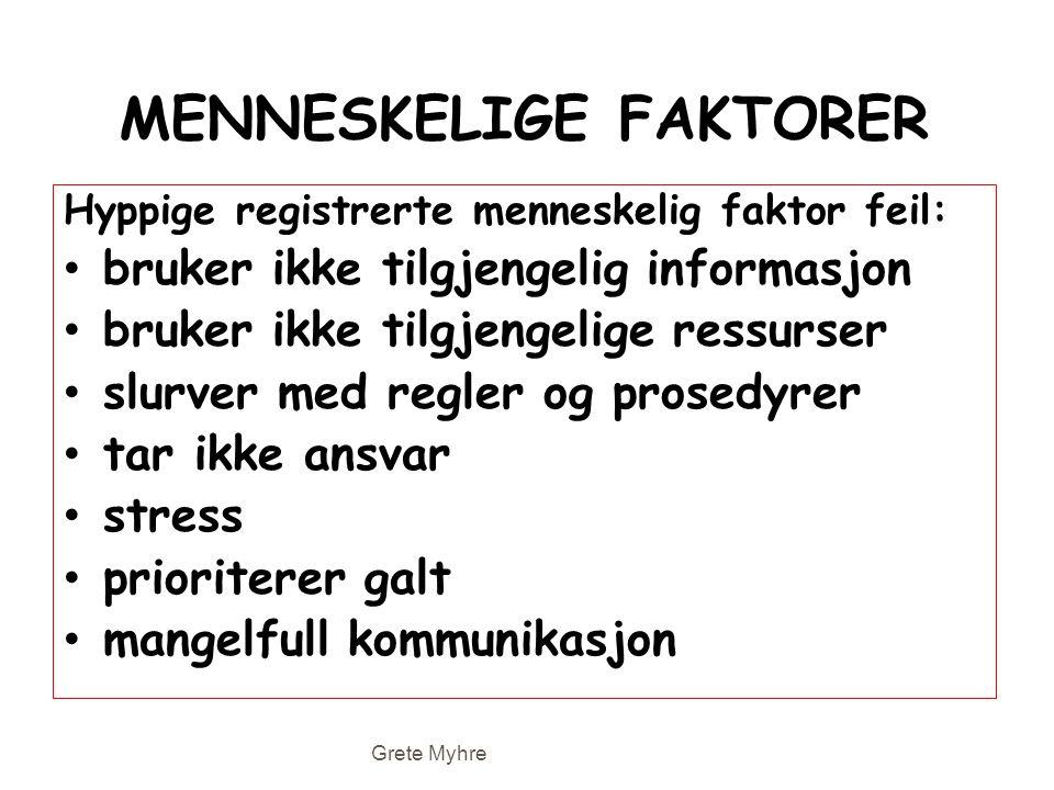 MENNESKELIGE FAKTORER Hyppige registrerte menneskelig faktor feil: • bruker ikke tilgjengelig informasjon • bruker ikke tilgjengelige ressurser • slur