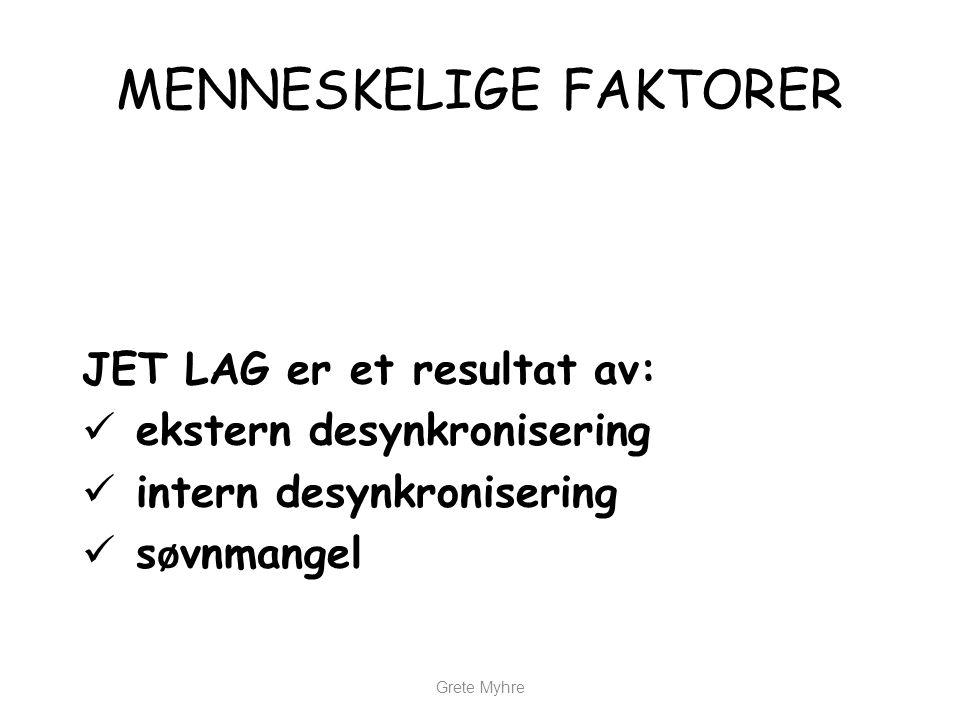 MENNESKELIGE FAKTORER JET LAG er et resultat av:  ekstern desynkronisering  intern desynkronisering  s ø vnmangel Grete Myhre