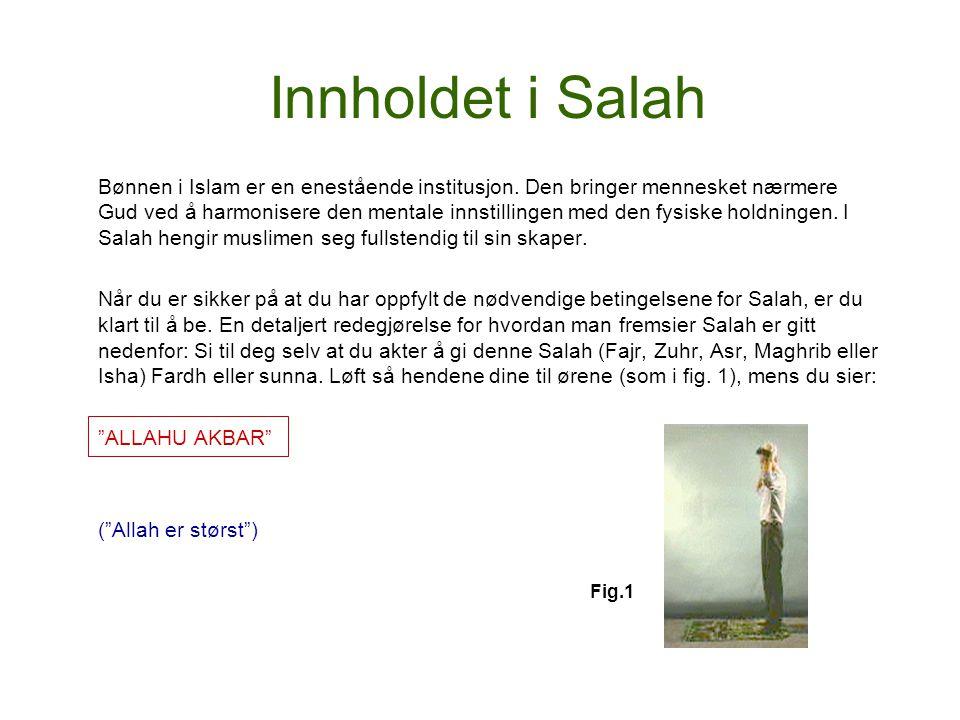 Innholdet i Salah Bønnen i Islam er en enestående institusjon. Den bringer mennesket nærmere Gud ved å harmonisere den mentale innstillingen med den f