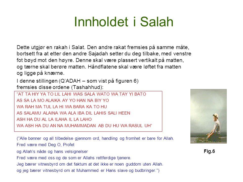 Innholdet i Salah Dette utgjør en rakah i Salat. Den andre rakat fremsies på samme måte, bortsett fra at etter den andre Sajadah setter du deg tilbake