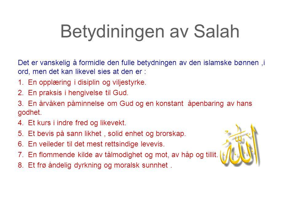 Betydiningen av Salah Det er vanskelig å formidle den fulle betydningen av den islamske bønnen,i ord, men det kan likevel sies at den er : 1. En opplæ