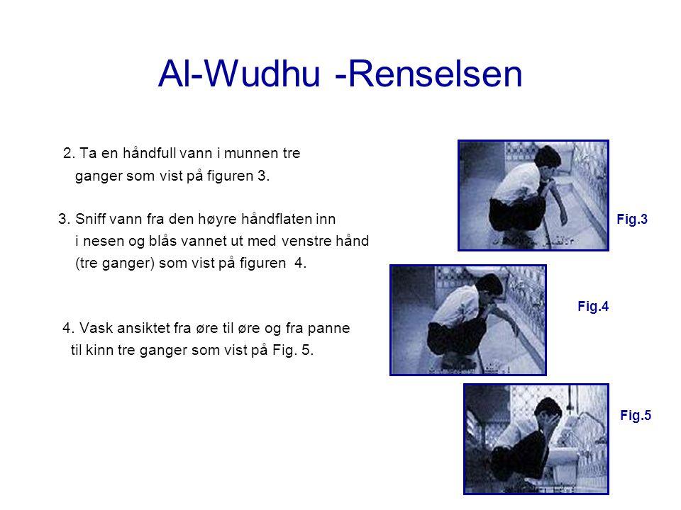 Al-Wudhu -Renselsen 2. Ta en håndfull vann i munnen tre ganger som vist på figuren 3. 3. Sniff vann fra den høyre håndflaten inn Fig.3 i nesen og blås