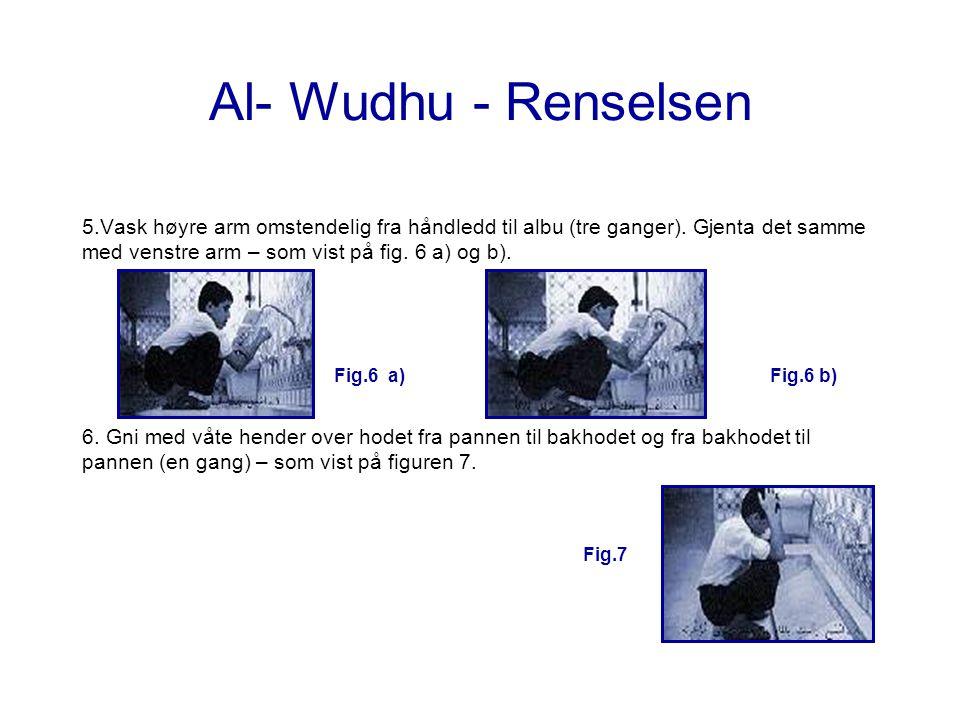 Al- Wudhu - Renselsen 5.Vask høyre arm omstendelig fra håndledd til albu (tre ganger). Gjenta det samme med venstre arm – som vist på fig. 6 a) og b).