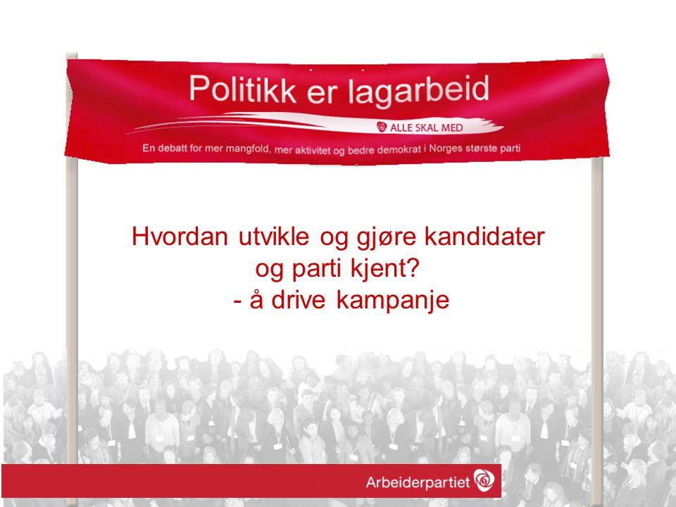 Hvordan utvikle og gjøre kandidater og parti kjent? - å drive kampanje