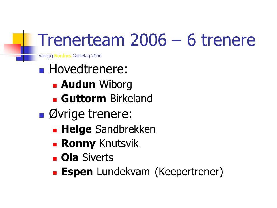 Varegg Nordnes Guttelag 2006 Trenerteam 2006 – 6 trenere  Hovedtrenere:  Audun Wiborg  Guttorm Birkeland  Øvrige trenere:  Helge Sandbrekken  Ro